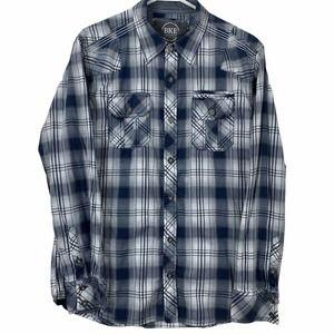 BKE Mens L Standard Fit Button Front Western Shirt